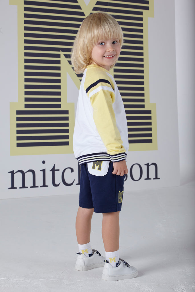 Mitch and Son SS20 Sebastian Navy, White & Lemon Sweatshirt and Short Set 1321 (4342216261730)