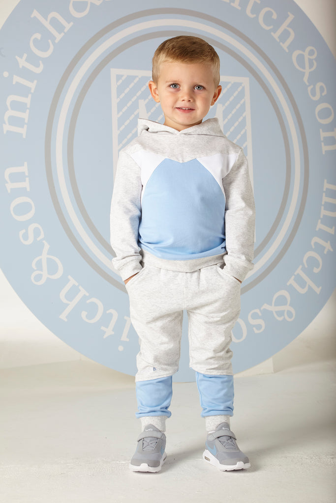 Mitch and Son SS20 Logan Grey & Blue Hooded Jogger Set 1304 (4342211969122)