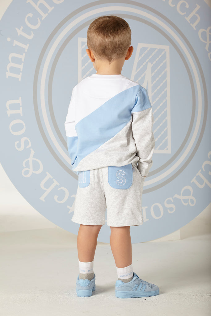Mitch and Son SS20 Benjamin Grey & Blue Sweater Short Set 1305 (4342211182690)