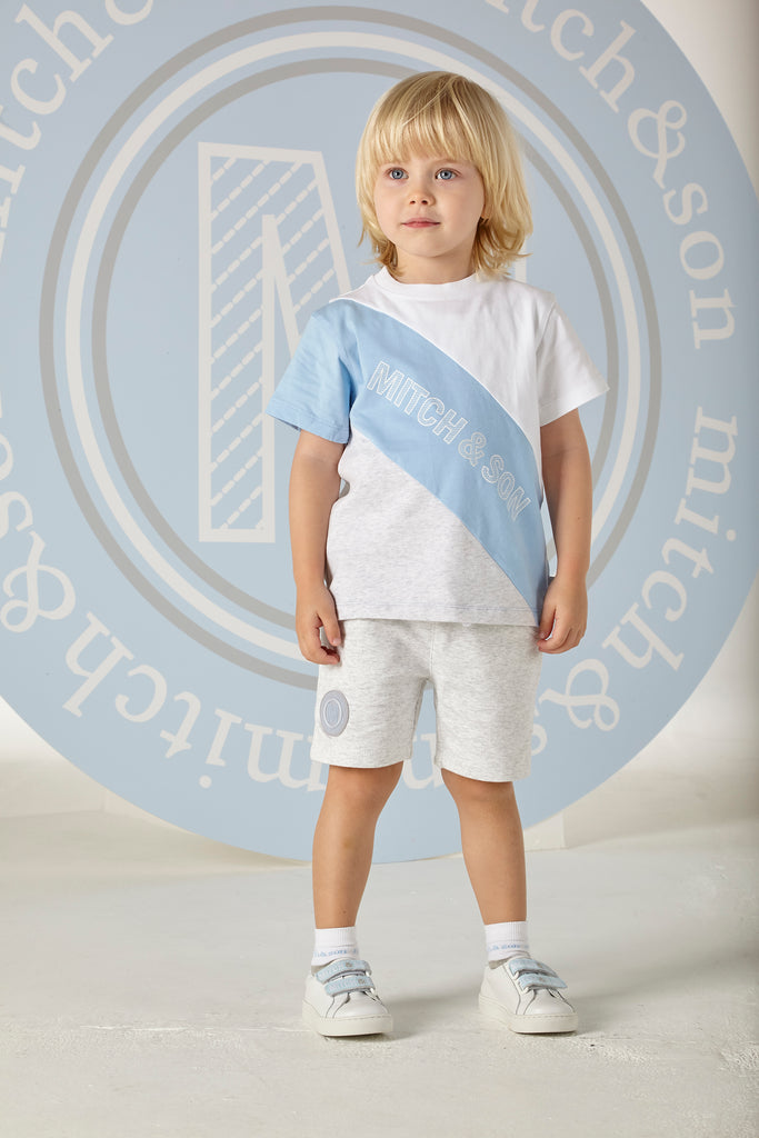 Mitch and Son SS20 Oliver Pale Blue & Grey Round Neck T-Shirt 1308 (4342216032354)