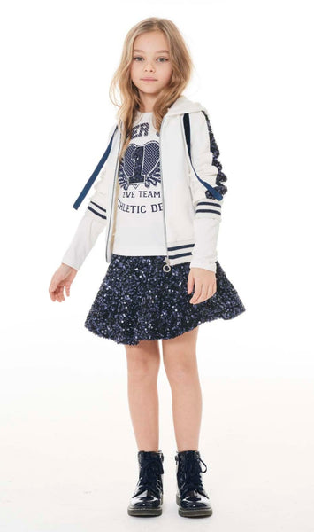 Elsy White 'Super Girl' Top & Navy Sequin Skirt Set 4945/5207 (1596981968994)