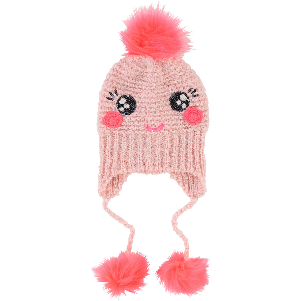 Billieblush Pale Pink smiley Face toggle Hat 1059 (1632126009442)