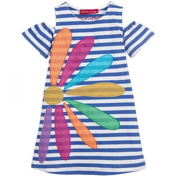 Agatha Ruiz De La Prada Blue Stripe Flower Dress 3167