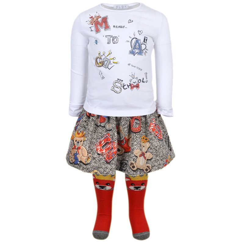 Elsy Roso Bear Top and Skirt set 6921/7003 (1557035581538)