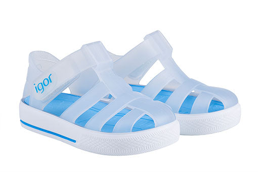 Igor Star Velcro Jelly Shoes Transparent White/Turquoise 109 - Bumkins Designer Kids