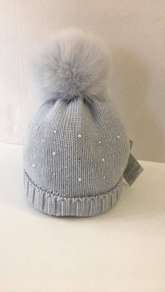Trestelle Baby Blue embellished Hat with Blue fur Pom 139N - Bumkins Designer Kids