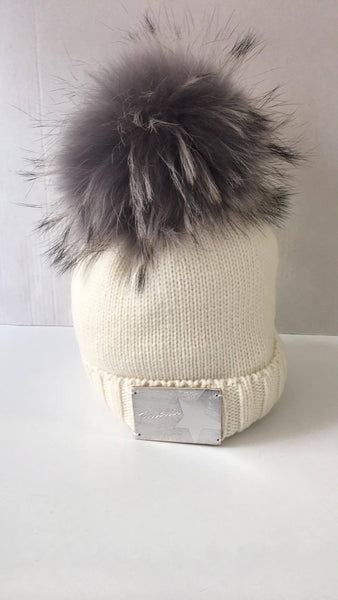Trestelle Ecru Star Hat with Grey fur Pom 884E - Bumkins Designer Kids