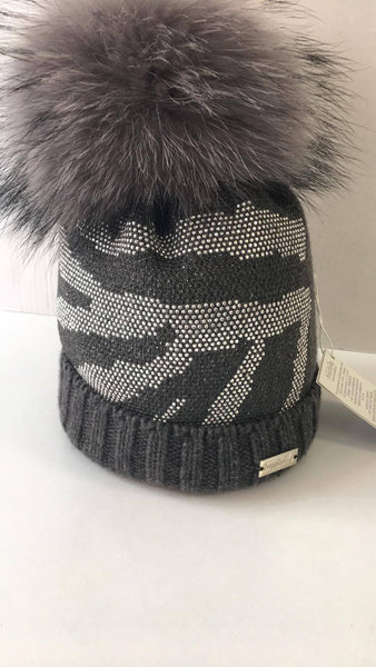 Trestelle Charcoal Camouflage Hat with mixed Grey fur Pom 931S - Bumkins Designer Kids