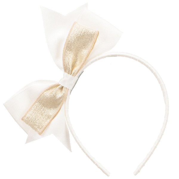 Trestelle Ivory and Gold bow Headband 404