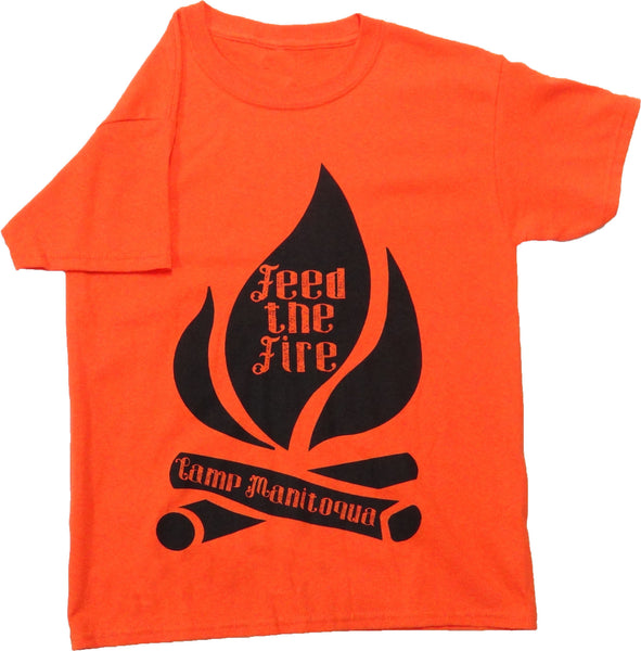 "Camp Manitoqua ""Feed the Fire"" t-shirt in Orange"