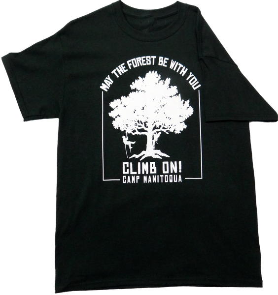 Camp Manitoqua tree climbing t-shirt in hunter green