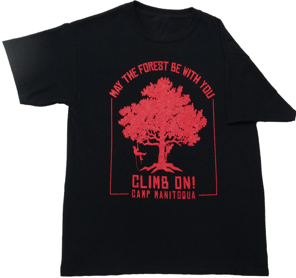 Camp Manitoqua tree climbing t-shirt in black