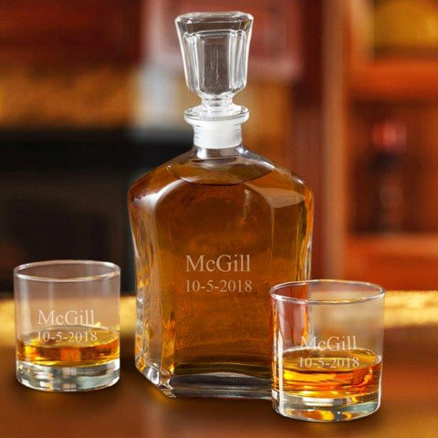 Decanter Set w/2 Low Ball Glasses Personalized #GC1667