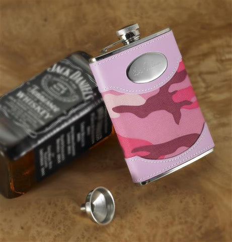 Engraved PinkCamouflage Flask #RO639