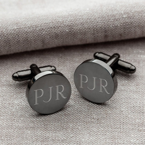 Personalized Gunmetal Round Cufflinks #GC1331