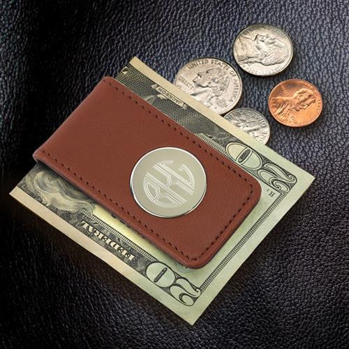 Brown Leather Magnetic Folding Money Clip #GC1075