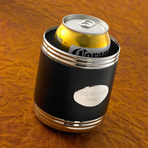Black Leather Can Cooler #GC483