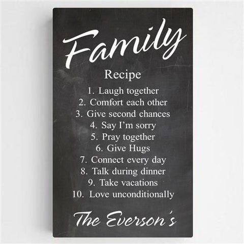 Family Recipe Canvas Sign #CA0127