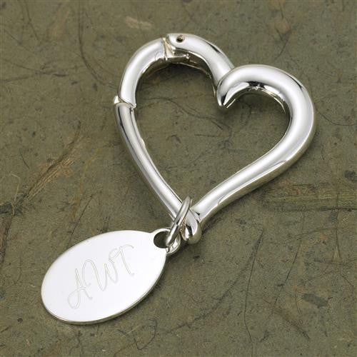 Engraved Heart Keychain with Oval Tag