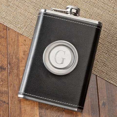 Personalized 8oz Leather Flask with Folding Shot Glass #GC1136