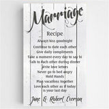 Marriage Recipe Canvas Sign #CA0126