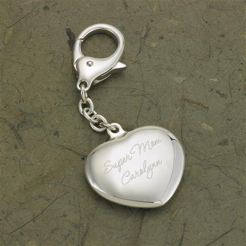 Engraved Heart Silver Plated Key Chain #RO636
