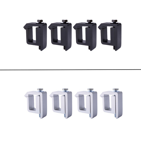 AA-Racks Set of 4 Aluminum Truck Cap Camper Shell Mounting C-Clamp - Black/ Silver (P-AC(4)-05)