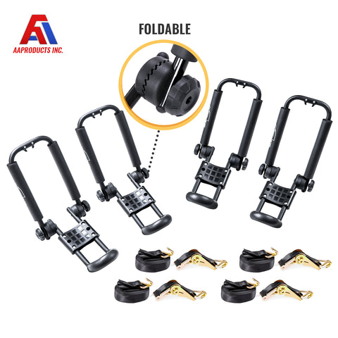 AA Products Universal Folding Kayak Roof Rack Canoe Boat Surfboard Carrier Rack Car SUV Truck Top Mount with Straps (KX-100)