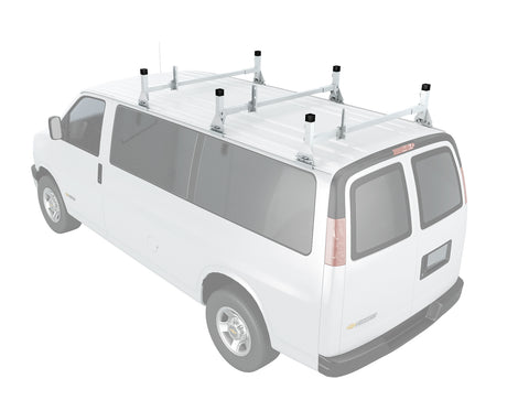 AA-Racks Universal Full size Cargo Van Roof Ladder Racks Aluminum Rain Gutter Mount Roof Rack (AX27)