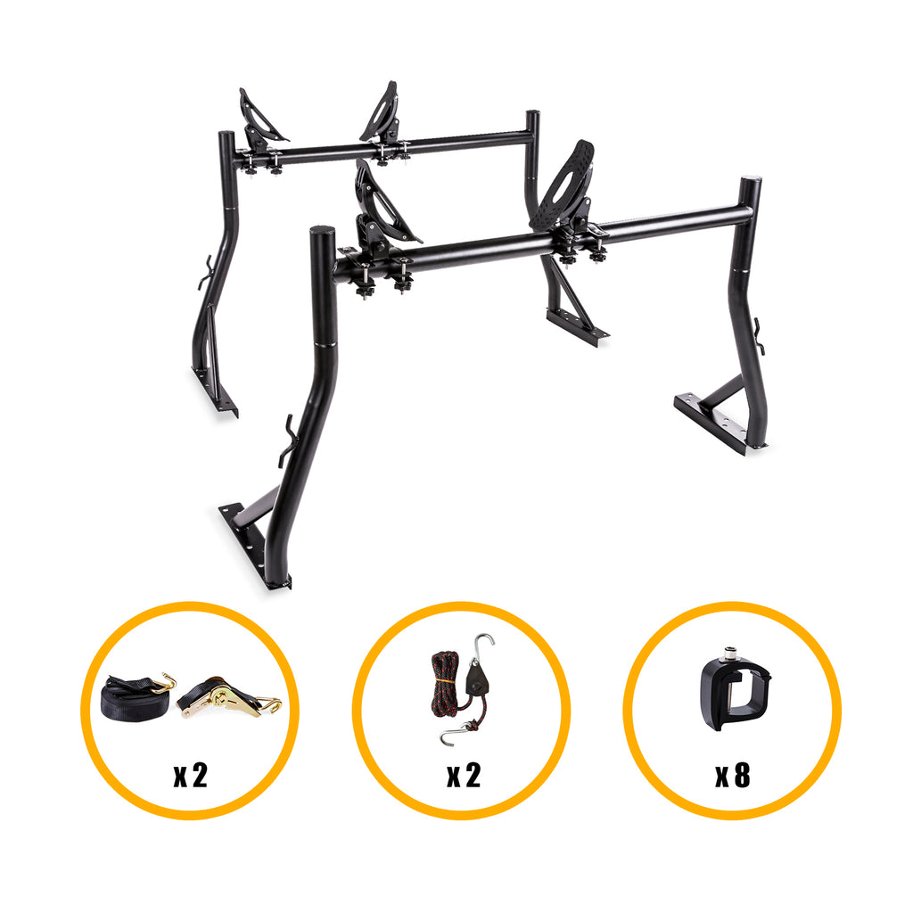 AA Products Truck Ladder Rack Utility with Mounting Clamps Saddle Kayak Rack Double Folding Kayak Racks and Ratchet Straps (KX-485/4115)