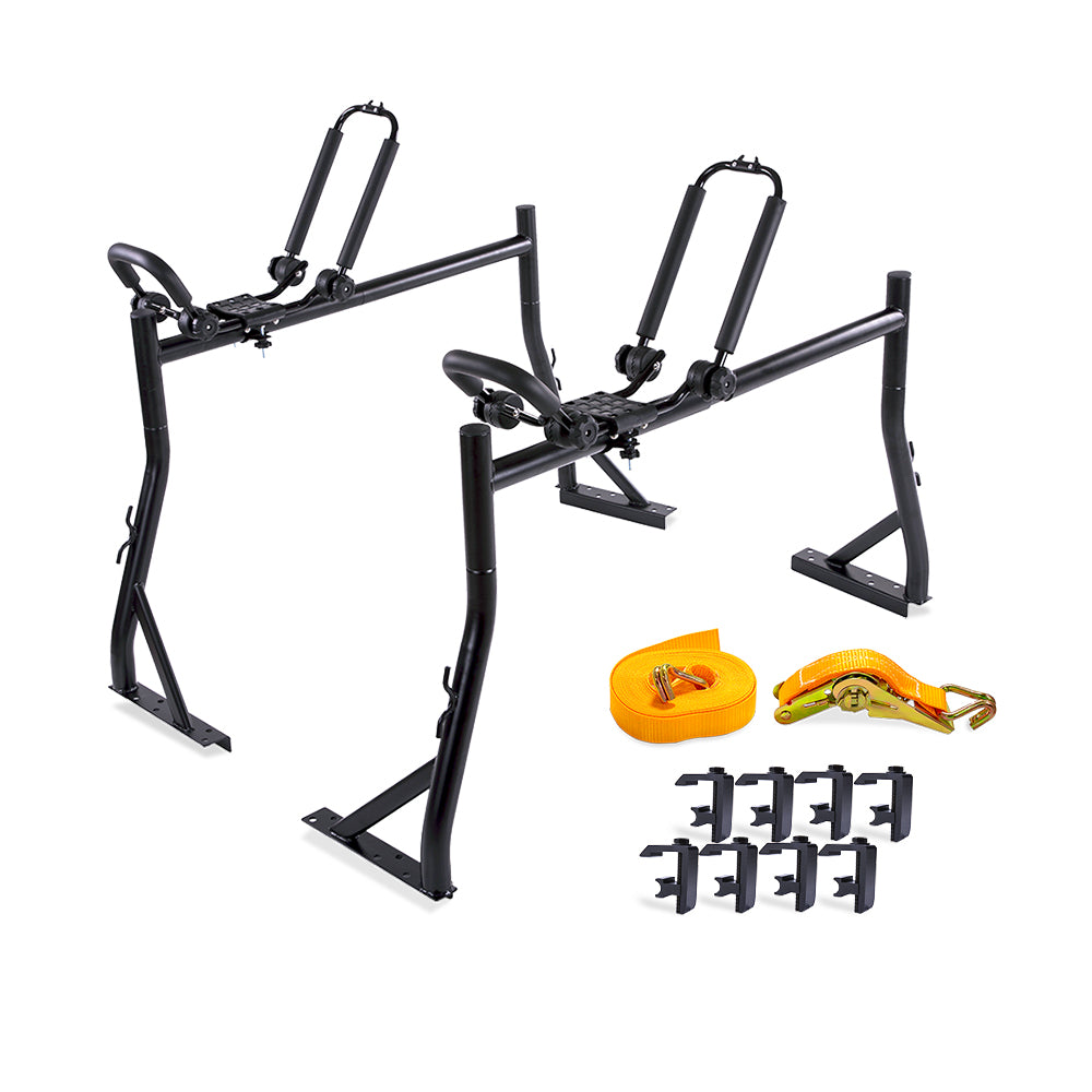 AA-Racks Pickup Truck Ladder Racks with Double Folding Kayak Roof Racks, Mounting Clamps and Ratchet Straps (Fits: Toyota Tacoma 2016-On) (KX-245/255-TA)