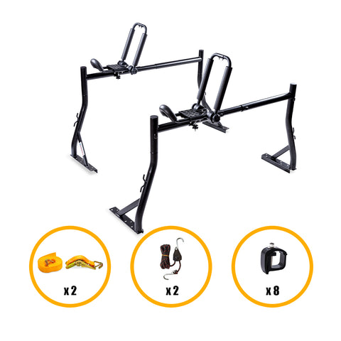 AA Products Universal Pickup Truck Ladder Rack With Folding Kayak Roof Top Mount Rack Canoe Boat Carrier Rack For Car SUV Truck (KX-145/155)