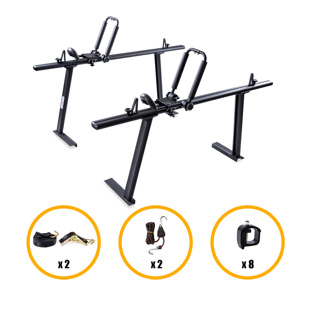 AA-Racks Aluminum Pickup Truck Ladder Racks with Double Folding Kayak Roof Racks, Mounting Clamps and Ratchet Straps (KX-265/275)