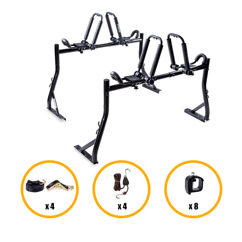 AA-Racks Pickup Truck Ladder Racks with Double Folding Kayak Roof Racks, Mounting Clamps and Ratchet Straps (KX-245/255)