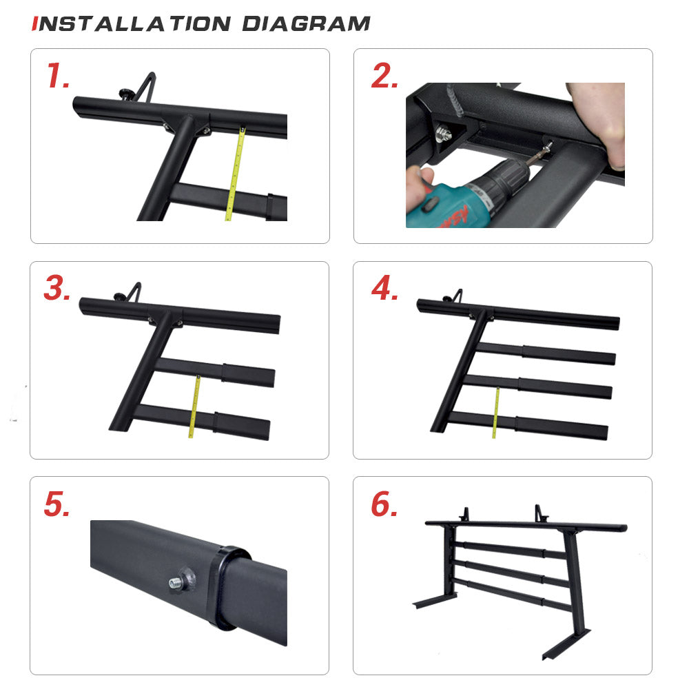 AA-Racks Adjustable Cross Bar Window Guard Protector for APX25 Pickup Truck Ladder Rack - (P-APX25-WG)