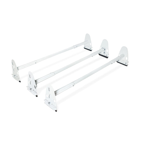 AA-Racks Heavy Duty Rain Gutter Van Roof Rack Round Cross Bar Set Steel - (X37)