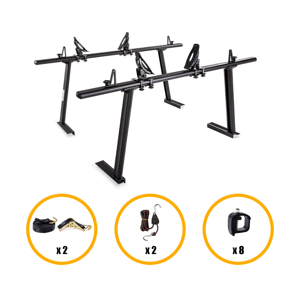 AA-Racks Universal Aluminum Truck Racks with Jetty Saddle Kayak Racks and Double Folding Kayak Roof Racks (KX-4125/4155)