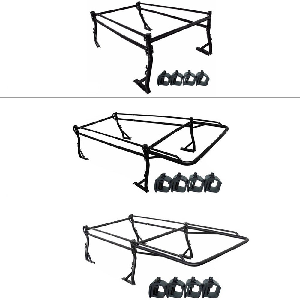 AA-Racks Full Size Pickup Truck Ladder Rack with Over Cab Ext. (8) No Drilling C-Clamps- Black (X39-8Clamp)