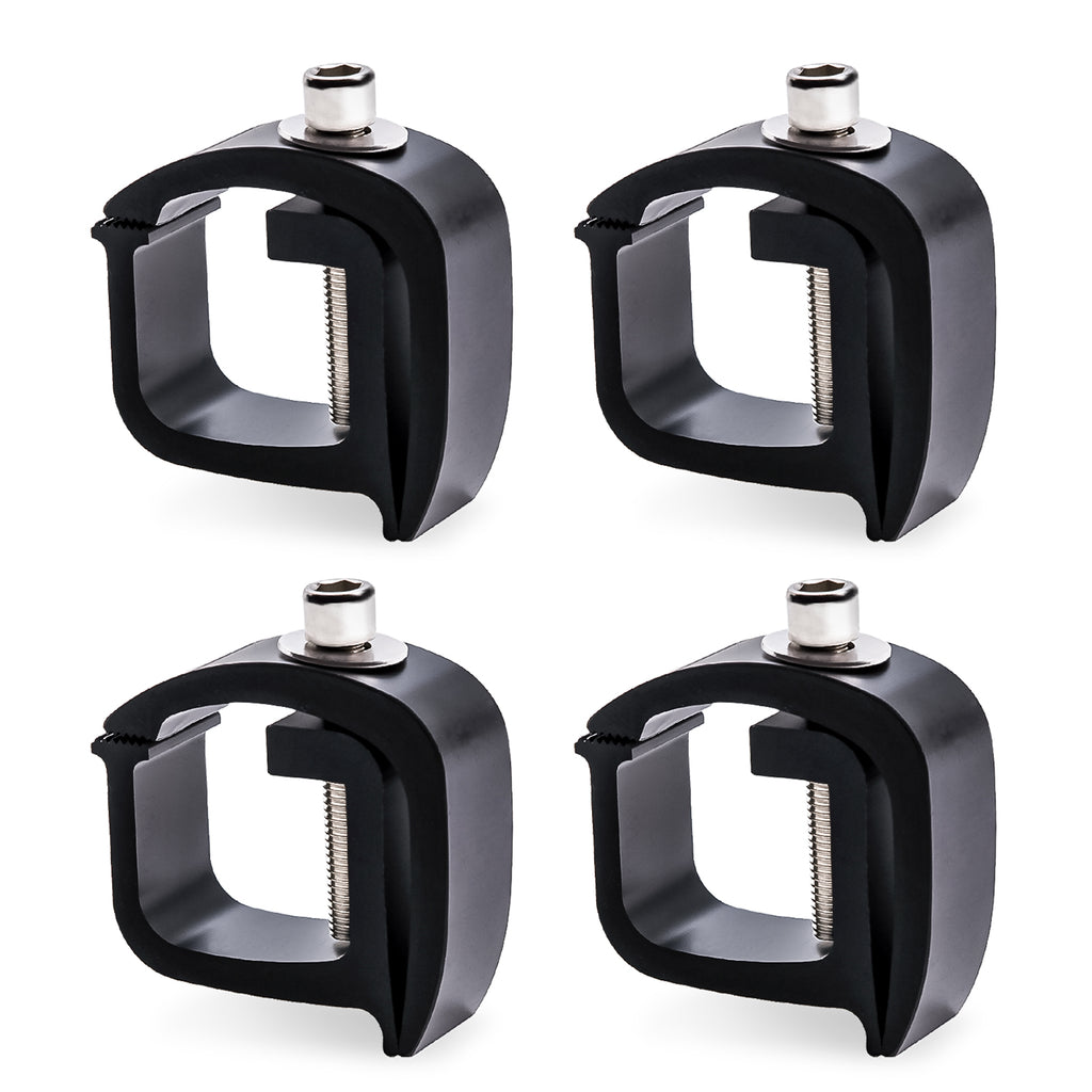 AA-Racks Set of 4 Aluminum C-clamps For Non-Drilling Truck Rack & Camper Shell Installation-Black/ Silver (P-AC(4)-01)