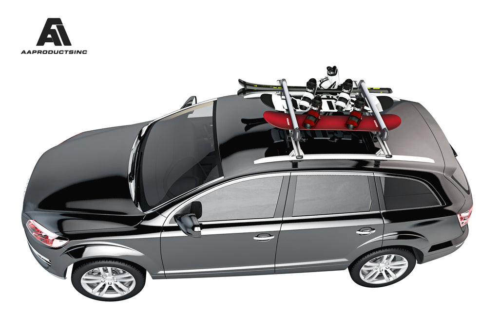 AA-Racks 33'' Aluminum Ski Roof Mounted & Snowboard Carrier Racks, Fits 6 Pairs Skis or 4 Snowboards (SR-A330)