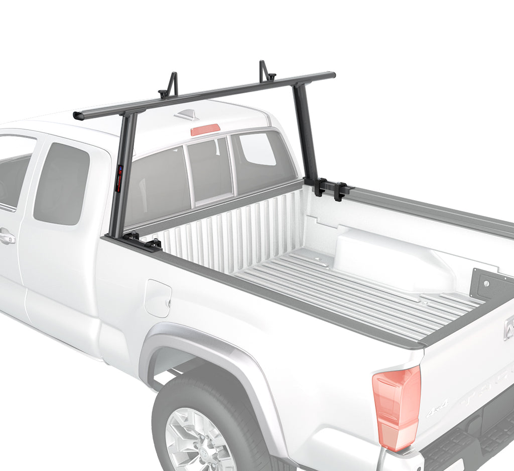 AA-Racks Model APX25-A Toyota Tacoma 2005-On No Drilling Required Extendable Aluminum Single Bar Pick-Up Truck Ladder Rack - (APX25-A-TA)