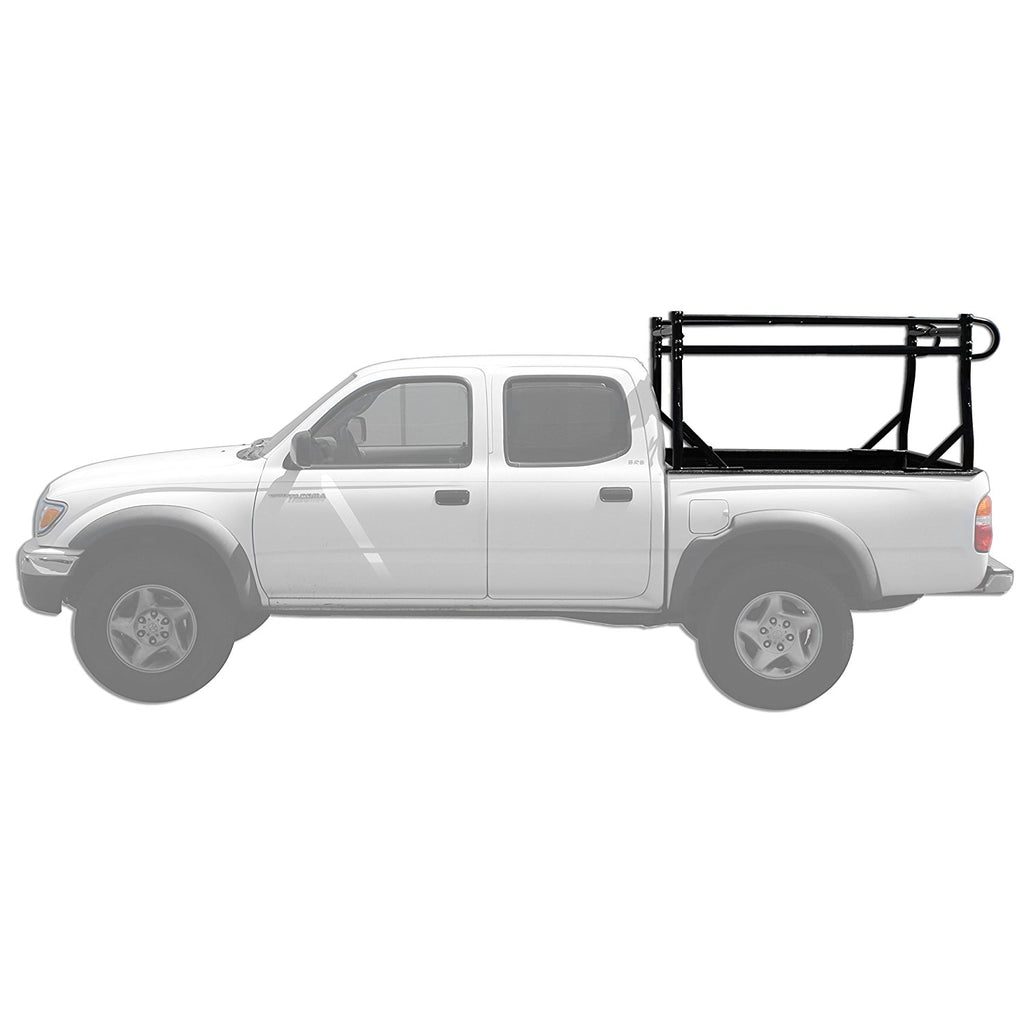 AA-Racks Universal Pickup Truck Ladder Rack Side Bar with Over Cab Ext. (8) Mounting C-Clamps Black (Fits: Toyota Tacoma 2016-On) - (X39-8Clamp-TA)