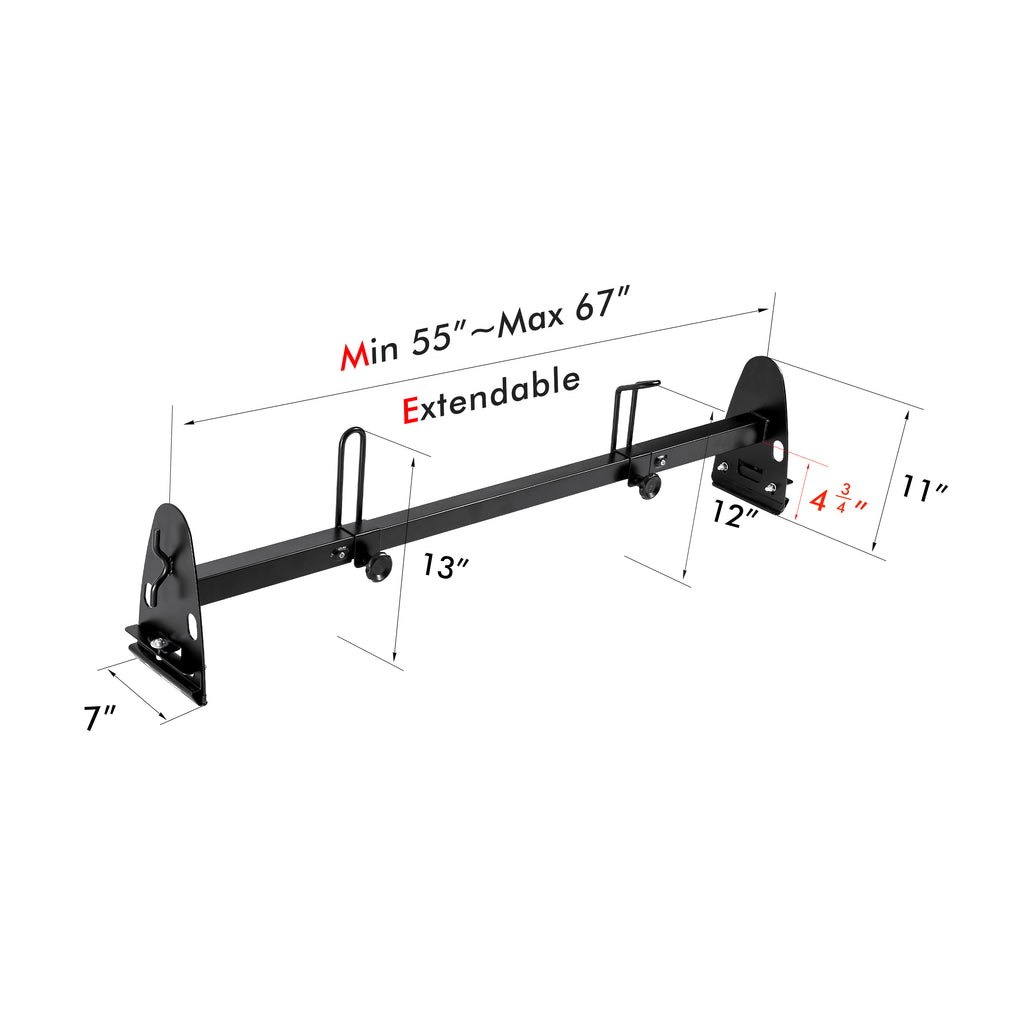 AA-Racks Fullsize Steel Van Ladder Racks Adjustable Gutter Mount Roof Rack with Rear Cargo Roller - Black/ White (RX27)