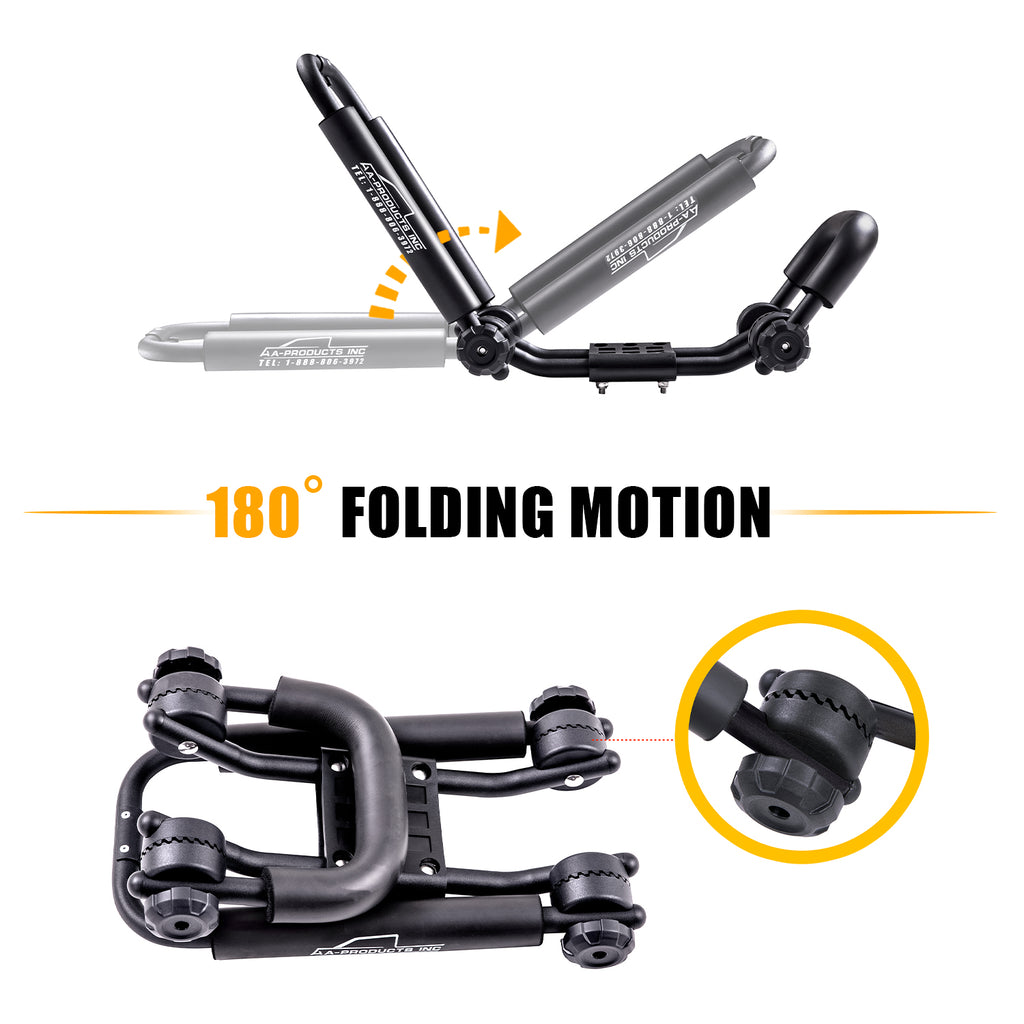 AA Racks Steel Double Folding Kayak Carrier Canoe J-Bar Roof Top Mount Racks for Car SUV Truck with Tie Down Straps (KX-200)