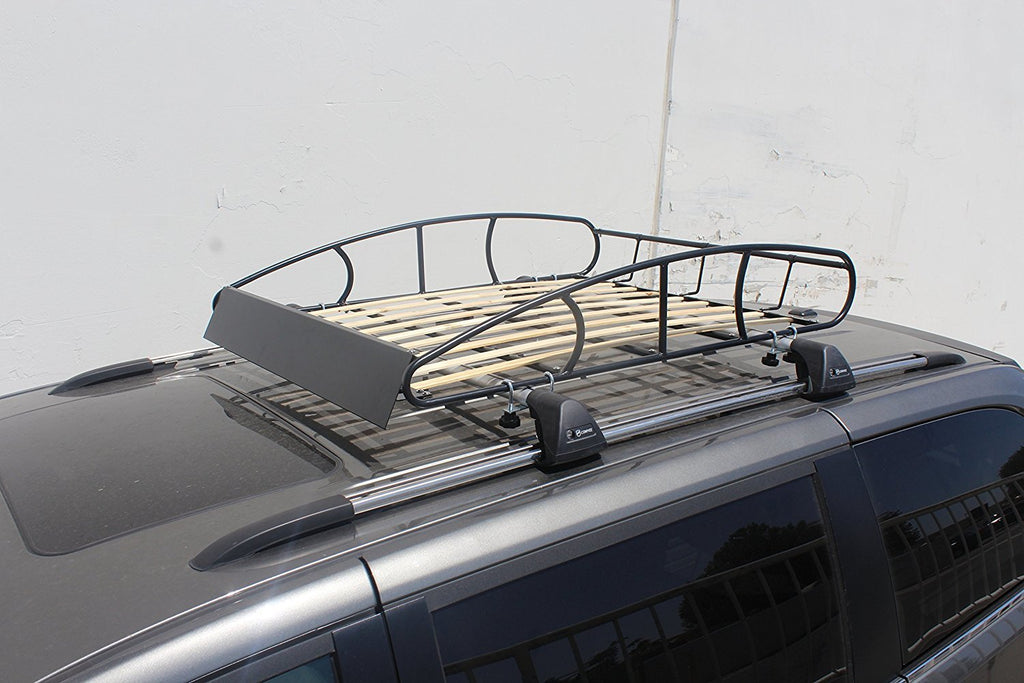 Matte Black Paint Polishing - Universal Roof Rack Cargo Car Top Luggage Holder Carrier Vintage Wood Slat (77-LC14-9UAZ)