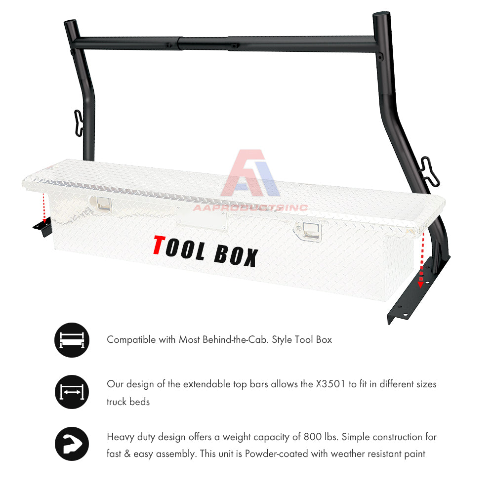 AA Racks Universal Pickup Truck Ladder Rack Heavy Duty 800Lbs Adjustable 2 Bar Set Steel Black (X3501)