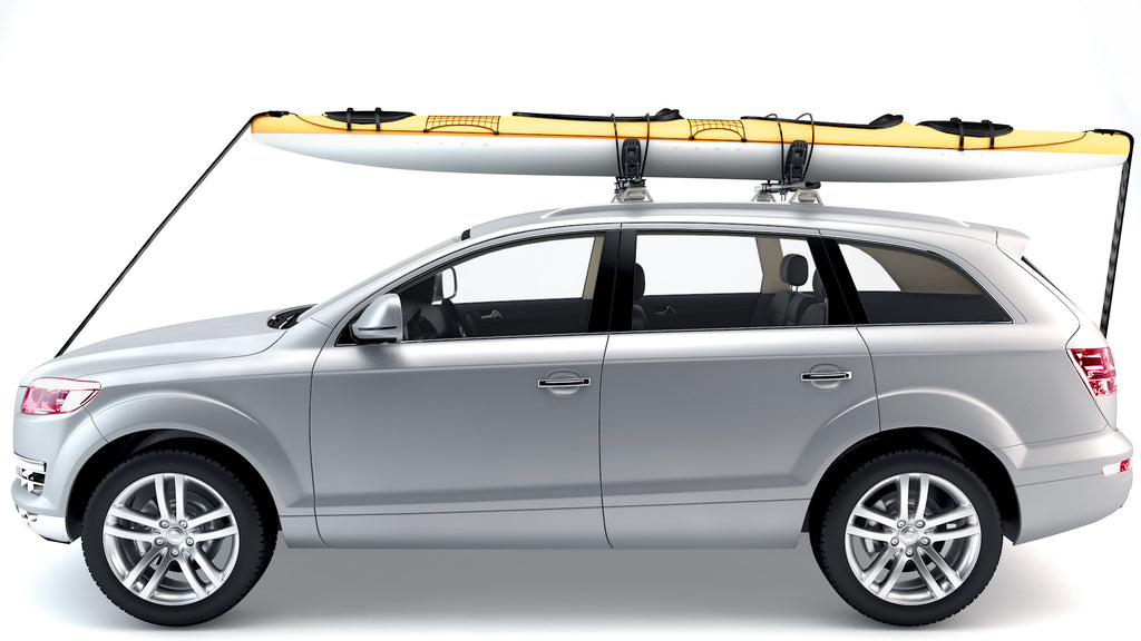 AA Products Steel Saddle Rack for Kayak Carrier Canoe Boat Surfboard Roof Top Mount on Car SUV Truck with Ratchet Straps (KX-405/415)