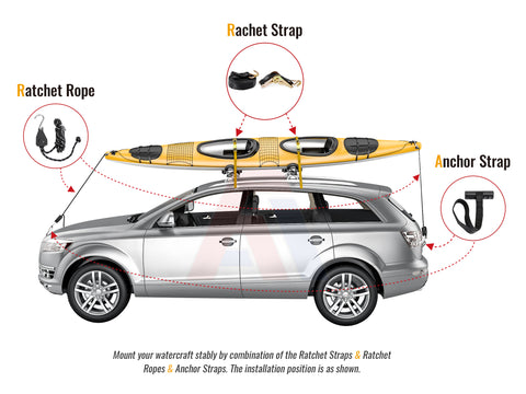 AA-Racks 2 Pair Stainless Steel J-Bar Rack Roof Top Mount with Ratchet Straps , Folding Carrier for Your Canoe, SUP and Kayaks on SUV Car Truck(KSX-125-BLK)