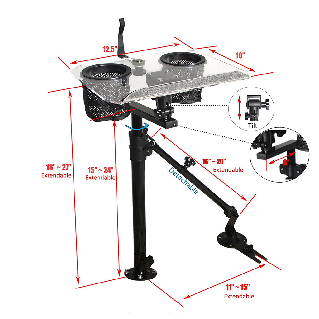 AA Products Universal Auto Laptop Mount Truck Vehicle Netbook Stand Holder with Supporting Arm (K005-A2)