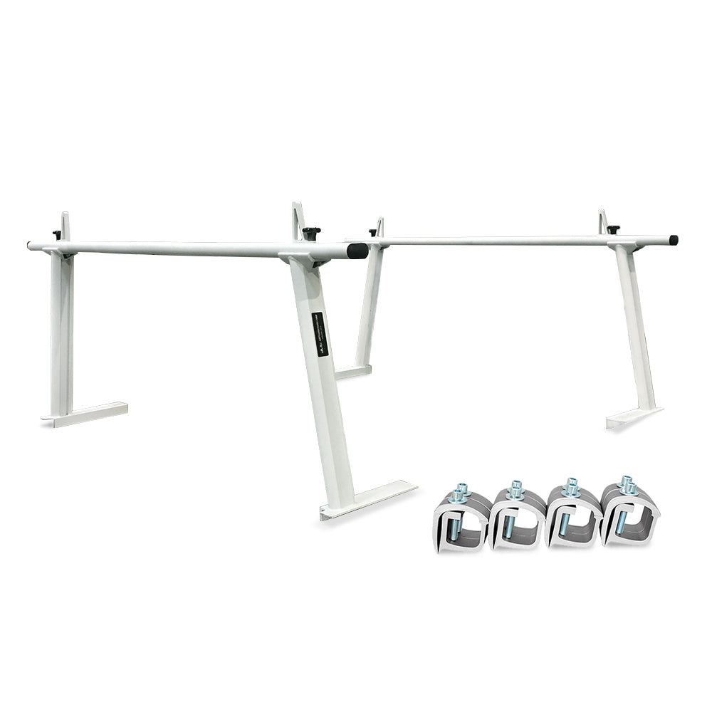 AA-Racks Model APX25 Extendable Aluminum Pick-Up Truck Ladder Rack No Drilling Required Black(APX25-BLK)/ White (APX25-WHT)/ Silver (APX25-SLV)